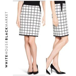 WHBM Windowpane Off White /Black Pencil Skirt- 8